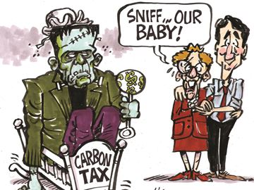 Today's cartoon: Giving birth to a carbon tax